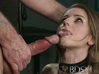 image Leashed sub doggystyled by dom master in cage